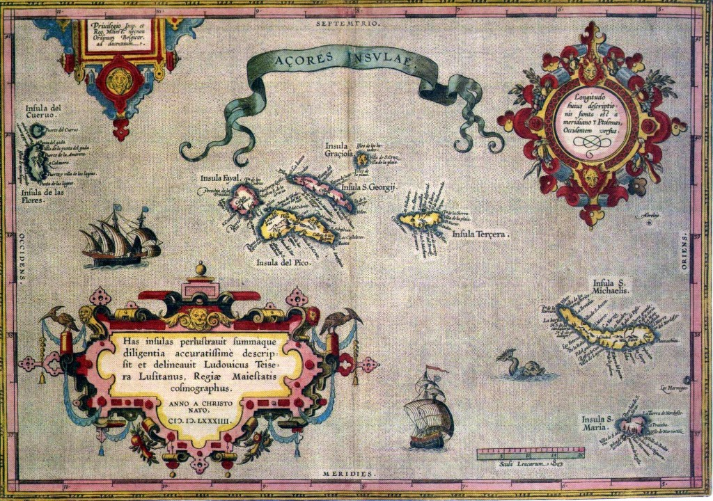 מפת האיים האזוריים - מפה עתיקה